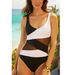 Other - BLACK AND white SHEER monikini swimsuit